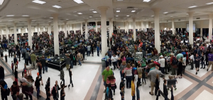Pano of the exhibit hall. Sat & Sun are public days when kids are allowed.